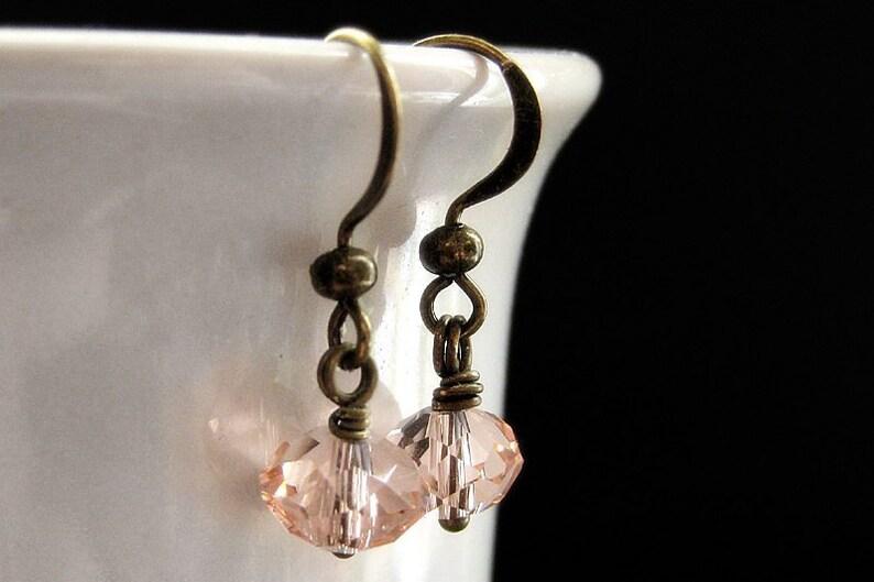 Pink Crystal Earrings. Dangle Earrings in Summer Pink. image 0
