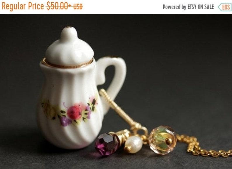 HALLOWEEN SALE Porcelain Teapot Necklace. Floral Tea Pot image 0