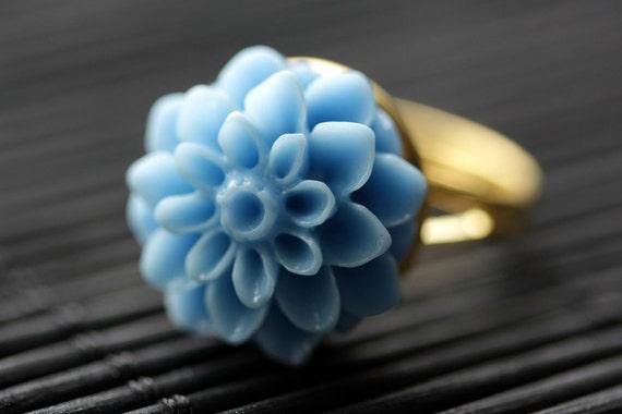 Blue Chrysanthemum Ring MOTHERS DAY SALE Cornflower Blue Mum Flower Ring Blue Flower Ring Adjustable Ring Handmade Flower Jewelry.