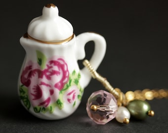Pink Rose Porcelain Teapot Necklace. Tea Pot Necklace with Pink Crystal and Pearl Charms. Pink Necklace. Gold Necklace. Handmade Jewelry.