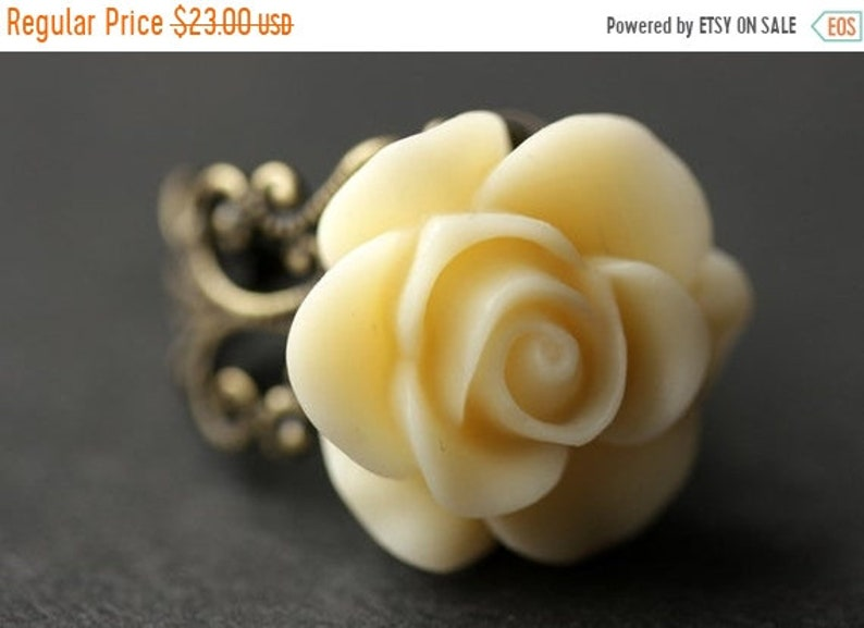 BACK to SCHOOL SALE Ivory Rose Ring  Ivory Flower Ring  Gold Ring  Silver  Ring  Bronze Ring  Copper Ring  Adjustable Ring  Handmade Jewelry