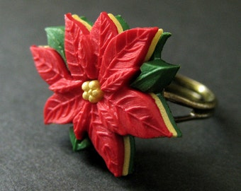 Poinsettia Flower Ring. Christmas Ring. Red Flower Ring. Adjustable Ring in Bronze. Christmas Jewelry. Handmade Jewelry.