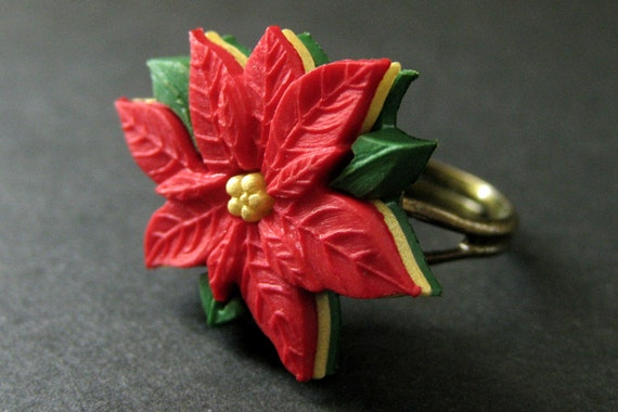 Handmade Ring. Bronze Ring Adjustable Ring Holiday Jewelry Christmas Ring Red and Yellow Ring Garden Gnome Ring Christmas Elf Ring