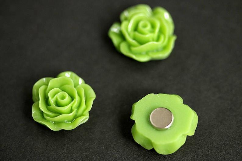 Spring Green Rose Magnets Office Magnets or Kitchen  Decor. Refrigerator Magnets Green Flower Magnet Set Set of Three Fridge Magnets