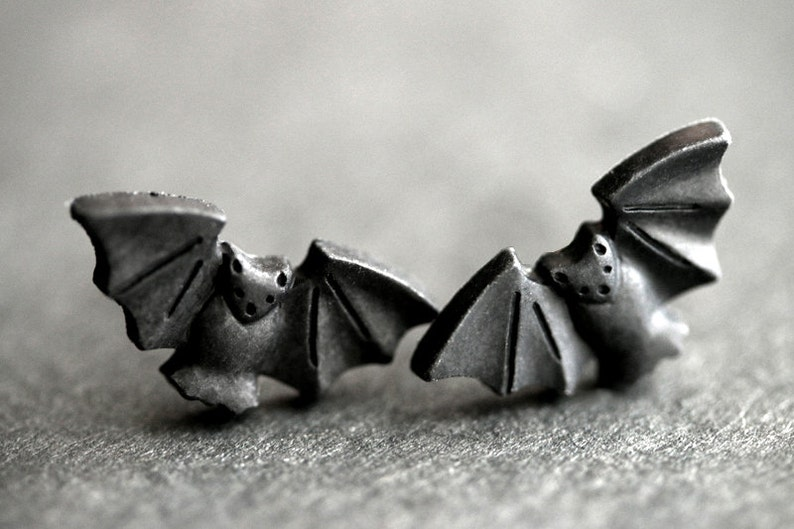 Halloween Earrings. Spooky Bat Earrings. Black Bat Earrings. image 0