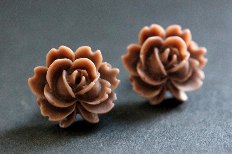 Dark Brown Lotus Flower Earrings Chocolate Brown Lotus Etsy