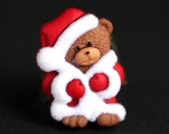 Holiday Teddybear Ring. Christmas Ring. Santa Teddy Ring. Holiday Ring. Teddy Bear Ring. Bronze Ring. Adjustable Ring. Handmade Jewelry.