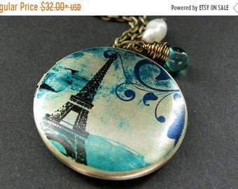 SUMMER SALE Teal Paris Locket Necklace. Eiffel Tower Necklace. Paris Necklace with Teal Teardrop and Pearl. Eiffel Tower Locket. Handmade Je
