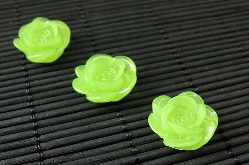 Green Rose Flower Refrigerator Magnets. Set of Three. Spring image 0
