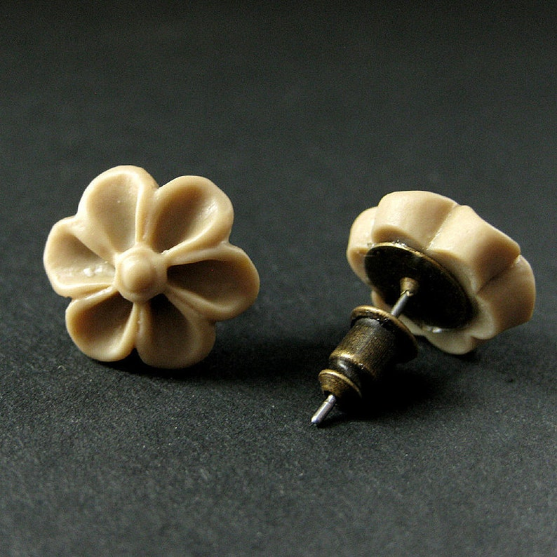 Taupe Flower Earrings with Bronze Earring Posts Outie Button Flower Jewelry Handmade Jewelry.