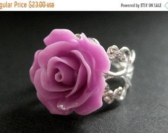 HALLOWEEN SALE Lilac Purple Rose Ring. Purple Flower Ring. Filigree Ring. Adjustable Ring. Flower Jewelry. Handmade Jewelry.