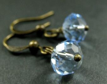 Blue Crystal Earrings. Dangle Earrings in Baby Blue. Handmade Jewelry.