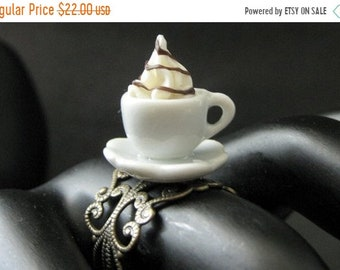 SUMMER SALE Ice Cream Ring with Chocolate Syrup Topping. Dessert Ring. White Teacup Ring. Bronze Filigree Adjustable Ring. Handmade Jewelry.