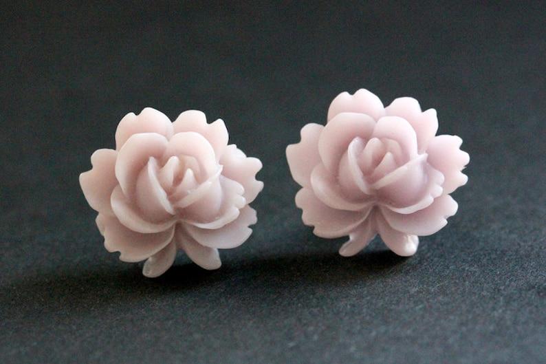 Pale Purple Lotus Flower Earrings. Soft Purple Lotus Earrings. image 0