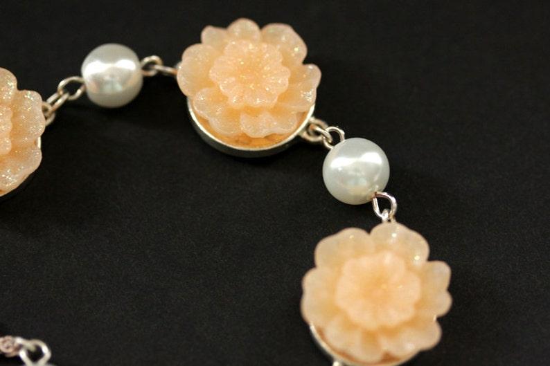 Peach Bracelet. Peach Flower Bracelet with Letter Charm. Pearl image 0