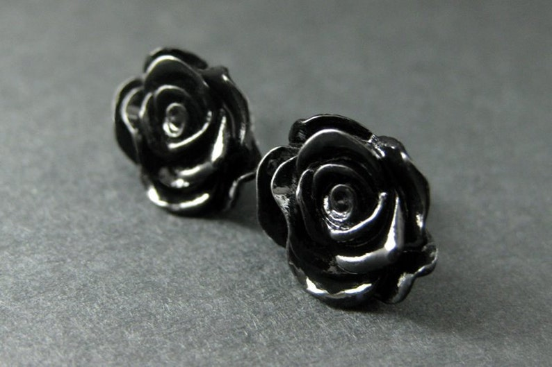 Black Rose Earrings with Bronze Earring Studs. Flower Jewelry. image 0