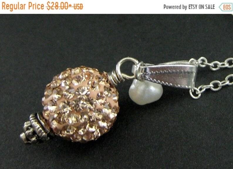 HALLOWEEN SALE Peach Rhinestone Necklace. Peach Necklace. image 0