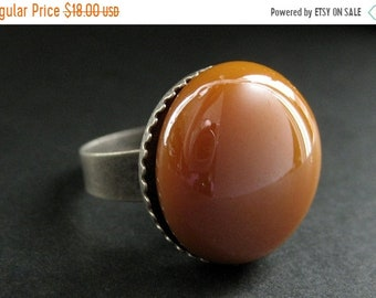 SUMMER SALE Sienna Orange Glass Ring in Silver. Tan Ring. Aged Silver Adjustable Ring. Handmade Jewelry.