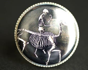 Skeleton Ring. Horse and Rider Ring. Halloween Ring. Goth Ring. Graphic Button Ring. Adjustable Ring. Silver Ring. Halloween Jewelry.