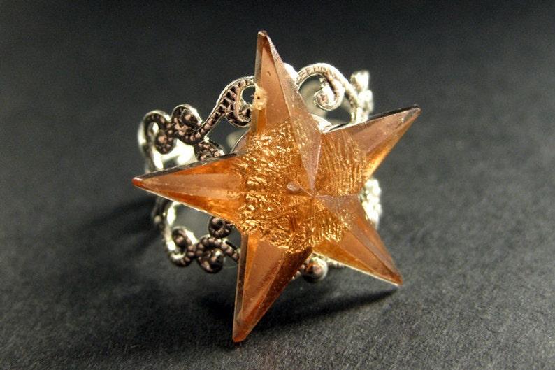 Star Ring. Amber Ring. Amber Star Ring. Silver Filigree Ring. image 0