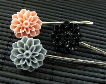 Jane Austin's Emma Inspired Dahlia Flower Bobby Pins in Pink, Grey and Black
