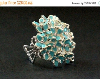 SUMMER SALE Blue Flower Bouquet Button Ring in Silver with Rhinestone Centers. Adjustable Ring. Handmade Jewelry.
