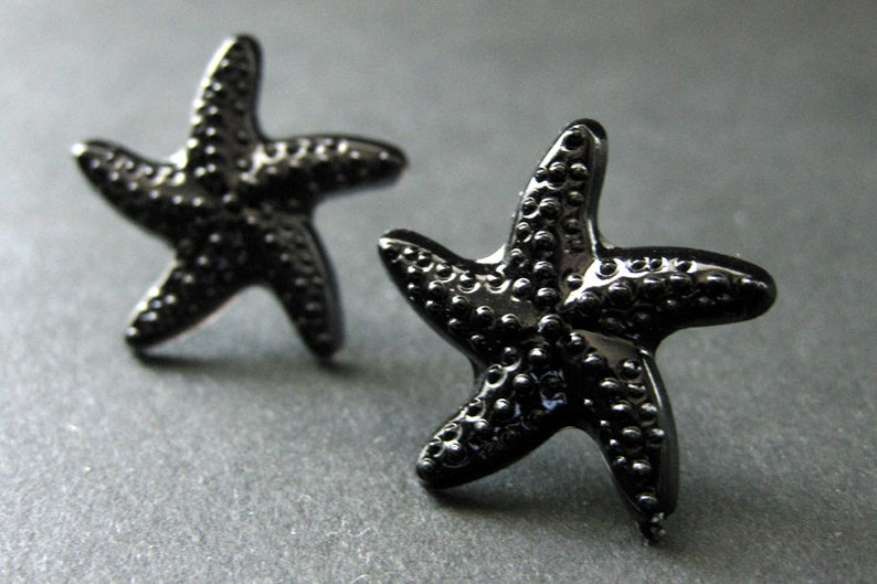 Black Starfish Earrings. Black Star Earrings with Silver Stud image 0