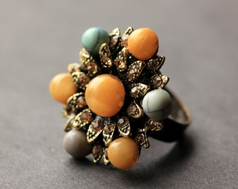 Button Ring. Rhinestone and Gemstone Button Ring. Bronze Button Ring. Vintage Button Ring. Handmade Jewelry.