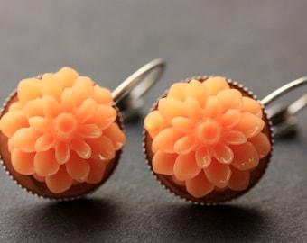 Tangerine Dahlia Flower Earrings. French Hook Earrings. Tangerine Orange Flower Earrings. Lever Back Earrings. Handmade Jewelry.