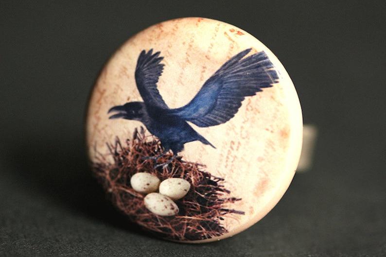 Halloween Ring. Raven Ring. Bird Nest Ring. Gothic Ring. image 0
