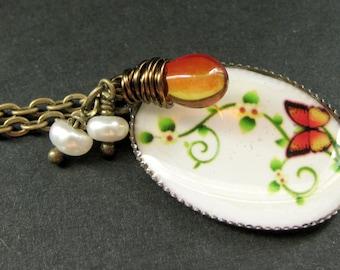 Fire Butterfly Necklace. Butterfly Pendant with Fiery Teardrop and Fresh Water Pearl. Handmade Jewellery.