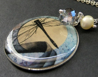 Dragonfly Moon Necklace. Dragonfly Necklace. Crystal and Pearl Charm Necklace with Dragonfly Pendant. Handmade Jewelry.