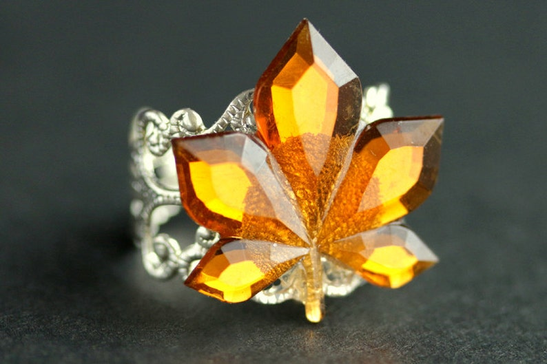Maple Leaf Ring. Bright Amber Ring. Autumn Ring. Nature Ring. image 0