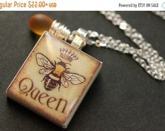 SUMMER SALE Bee Necklace. Queen Bee Necklace. Scrabble Tile Necklace with Frosted Amber Teardrop. Handmade Jewelry.