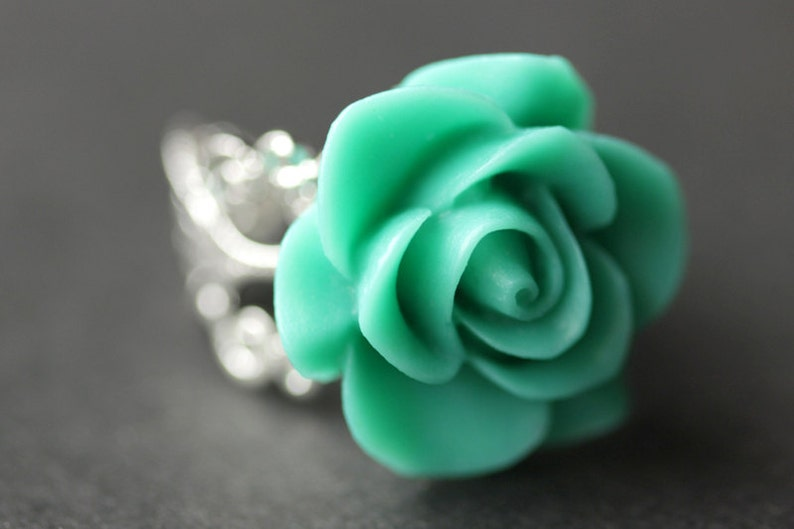 Turquoise Rose Ring. Turquoise Flower Ring. Gold Ring. Silver image 0