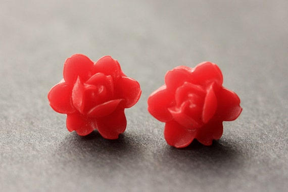 Red flower earrings red lotus rose earrings post earrings etsy image 0 mightylinksfo