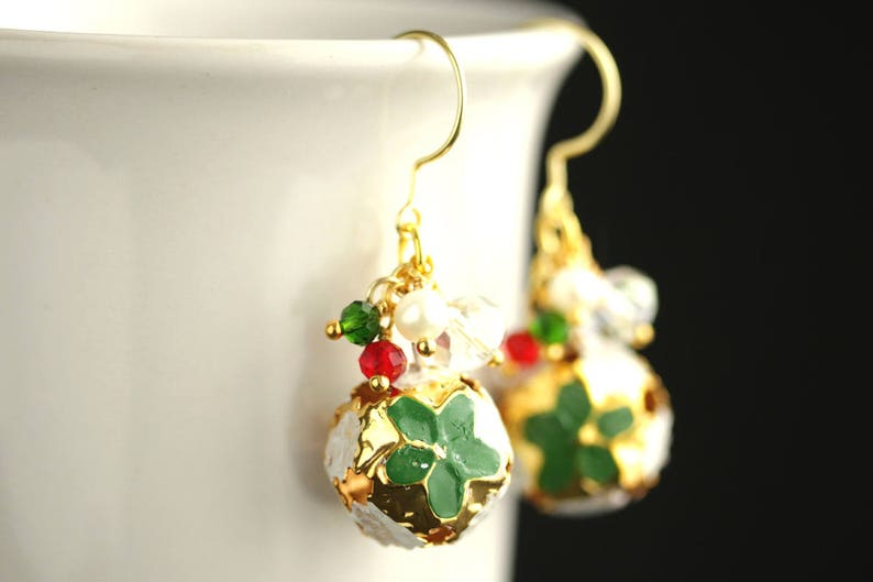 Christmas Bell Earrings. Green Earrings. Gold Bell Earrings. image 0