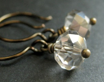 Pale Taupe Crystal Earrings. Taupe Earrings. Crystal Dangle Earrings. Bronze Earrings. Taupe Dangle Earrings. Handmade Jewelry.