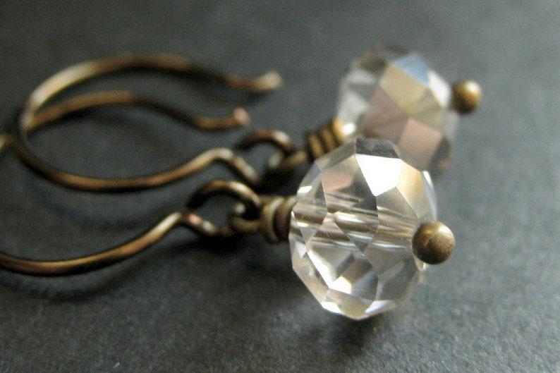 Pale Taupe Crystal Earrings. Taupe Earrings. Crystal Dangle image 0