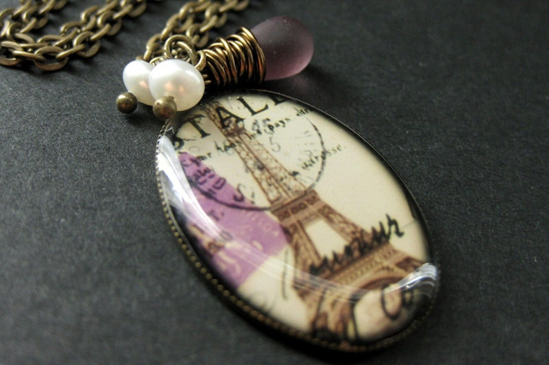 Purple Eiffel Tower Necklace with Frosted Purple Teardrop and image 0