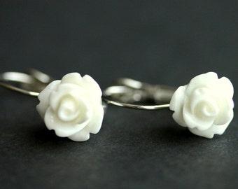 White Rose Dangle Earrings. White Flower Earrings. Rose Earrings. White Earrings. Silver Lever Back Earrings. Flower Jewelry.