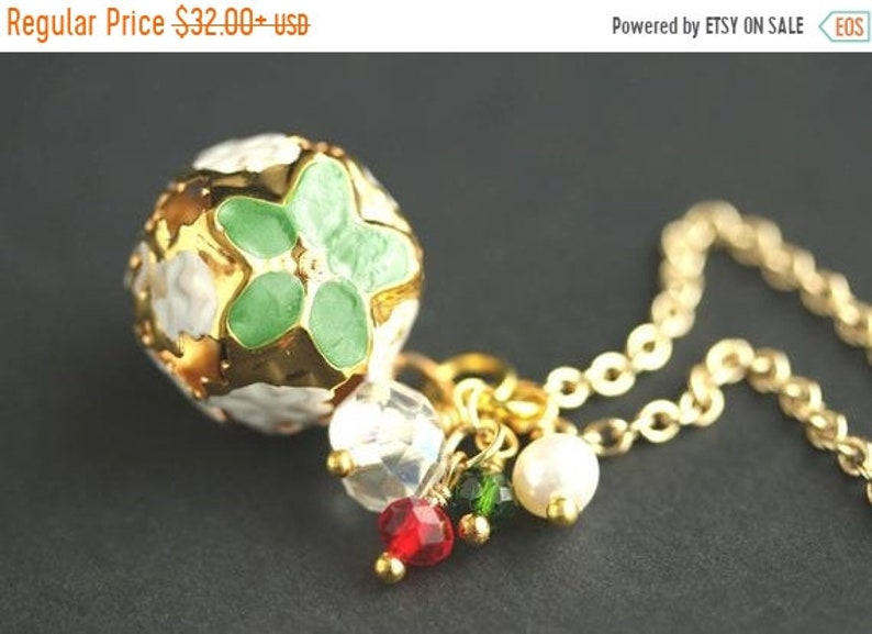 HALLOWEEN SALE Christmas Bell Crystal Necklace. Green image 0