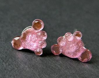Pink Bare Feet Earrings. Pink Earrings. Baby Feet Earrings. Silver Stud Earrings. Post Earrings. Handmade Earrings. Handmade Jewelry.