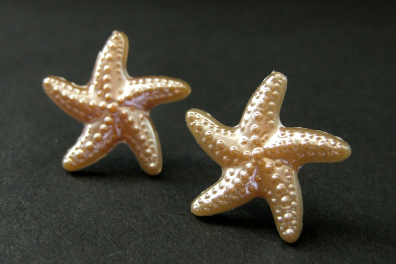 Peach Starfish Earrings. Sea Star Fish Earrings with Silver image 0
