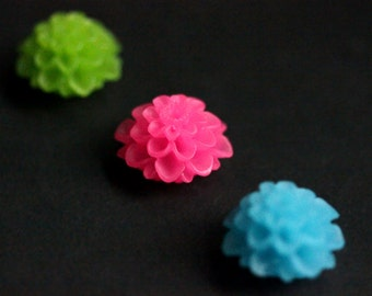 Neon Mum Flower Magnets. Set of Three Fridge Magnets in Hot Pink, Green, and Bright Blue. Floral Magnets. Office Magnets. Home Decor.