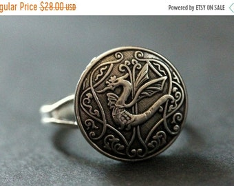 HALLOWEEN SALE Celtic Dragon Ring. Celtic Knot Button Ring. Silver Button Ring. Adjustable Ring. Handmade Jewelry.