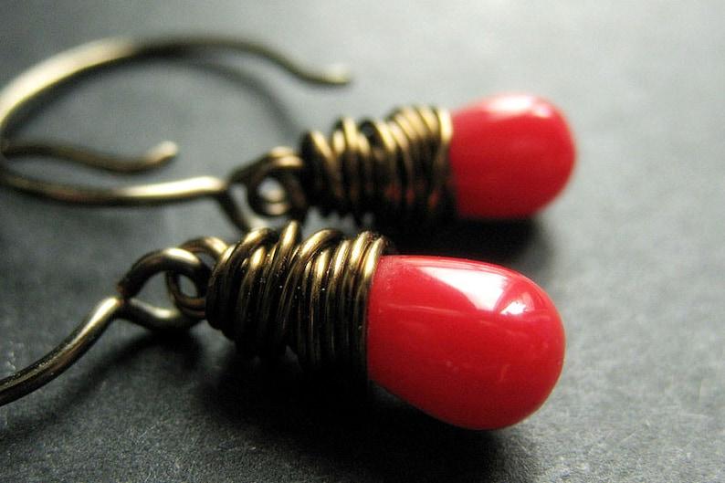 Coral Earrings. Coral Teardrop Earrings. Coral Dangle image 0