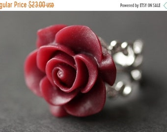 HALLOWEEN SALE Maroon Rose Ring. Dark Red Flower Ring. Gold Ring. Silver Ring. Bronze Ring. Copper Ring. Adjustable Ring. Handmade Jewelry.