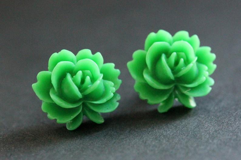 Green Lotus Flower Earrings. Green Lotus Earrings. Bronze Post image 0