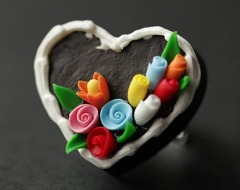 Heart Shaped Cake Ring. Heart Ring. Food Ring. Adjustable Ring. Silver Ring. Cocktail Jewelry. Polymer Clay Jewelry. Handmade Jewelry